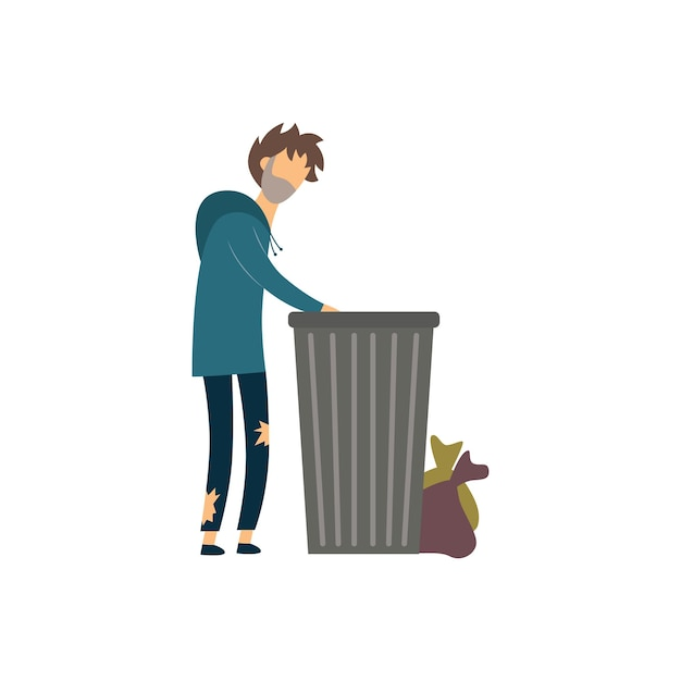 Mendicante affamato senza casa che scava nella spazzatura Vettore Premium