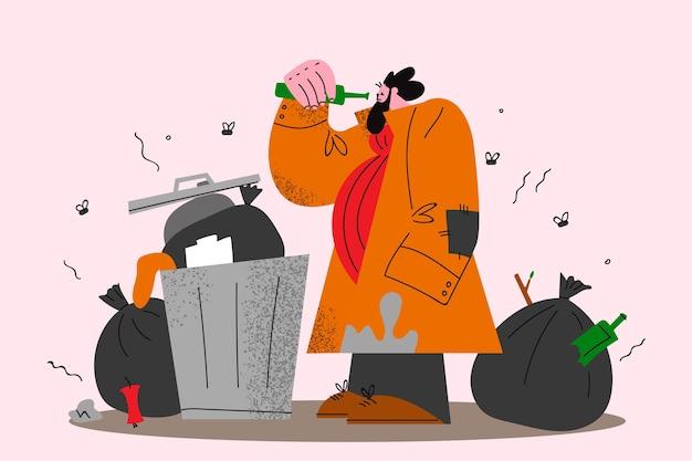 I senzatetto alla ricerca di cibo concetto illustrazione Vettore Premium