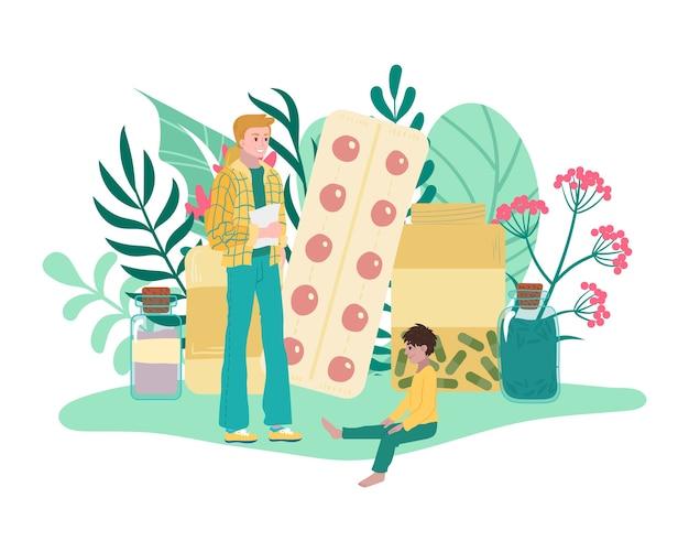 Omeopatia, farmaci da piante, padre e figlio utilizzano trattamenti medici a base di erbe, cure salutari, illustrazione. medicina alternativa, bio farmacia, terapia farmaceutica, erbe. Vettore Premium