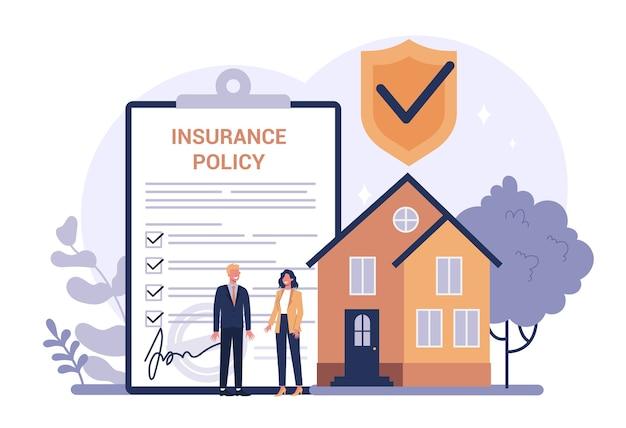 Concetto di assicurazione del proprietario di abitazione. idea di sicurezza e protezione della proprietà e della vita dai danni. sicurezza dai disastri naturali. Vettore Premium