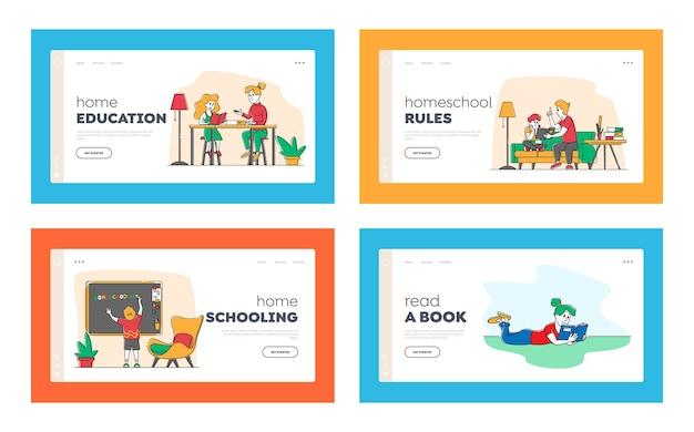 Set di modelli di pagina di destinazione homeschooling. Vettore Premium