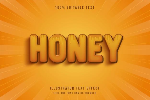 Miele, 3d testo modificabile effetto giallo gradazione arancione modello testo stile Vettore Premium