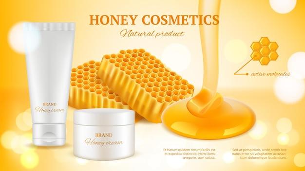Banner di cosmetici al miele. tubo crema realistico e favi. Vettore Premium