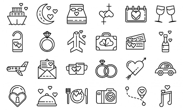 Set di icone luna di miele, struttura di stile Vettore Premium