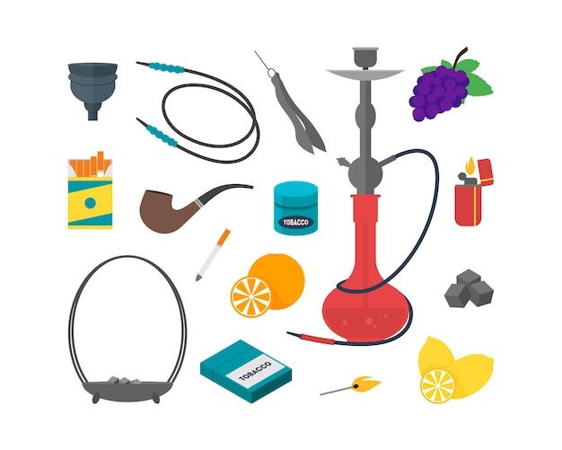 Hookah set dispositivi per fumatori tradizionali. Vettore Premium