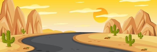 Scena della natura di orizzonte o campagna del paesaggio con la strada di mezzo in vista del deserto e vista del cielo al tramonto giallo Vettore Premium