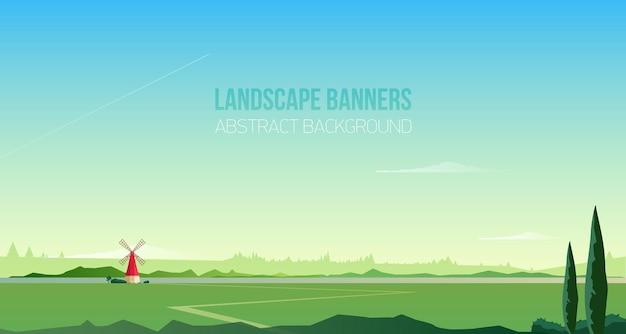 Modello di sfondo o banner orizzontale con spettacolare paesaggio rurale o scenario naturale Vettore Premium