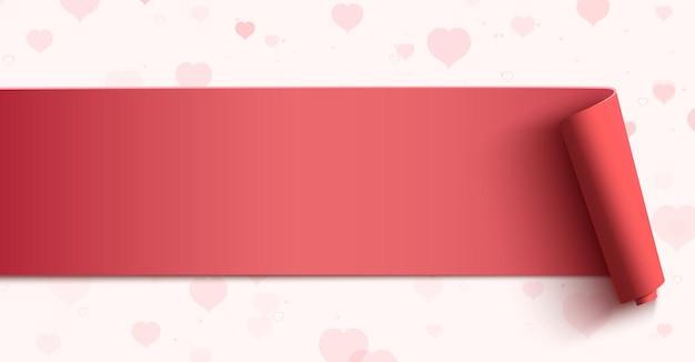 Banner orizzontale su sfondo con cuori rosa. Vettore Premium