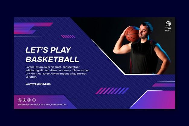 Banner orizzontale con giocatore di basket maschile Vettore Premium