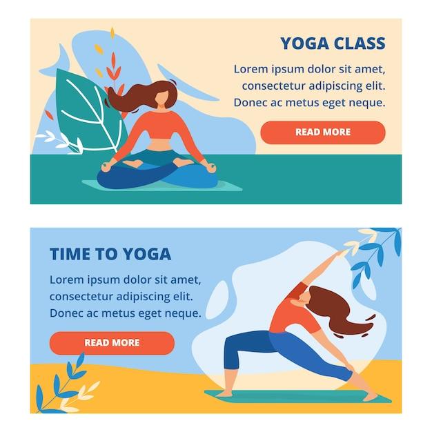 Set di bandiere orizzontali con lezione di yoga all'aperto Vettore Premium