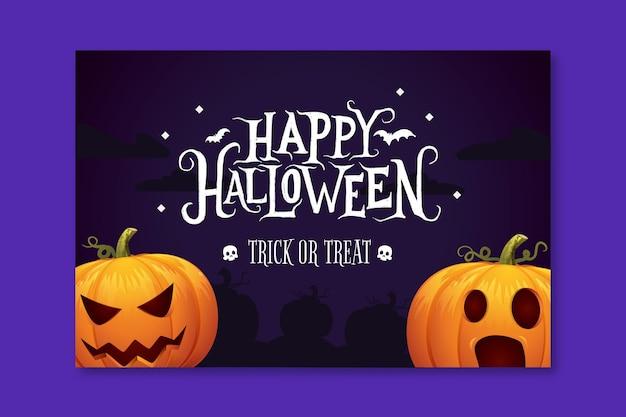Banner orizzontale di halloween Vettore Premium