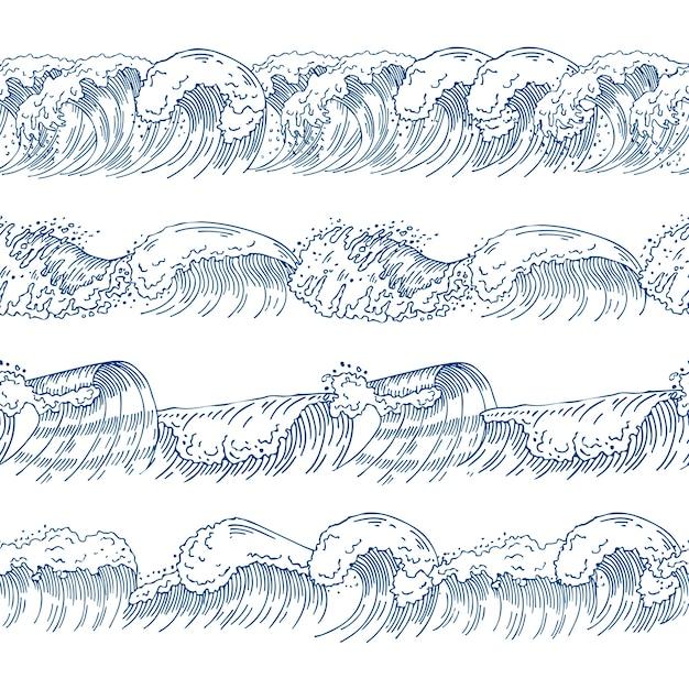 Modelli senza cuciture orizzontali con diverse onde dell'oceano. set di immagini disegnate a mano. modello d'onda dell'oceano e del mare Vettore Premium