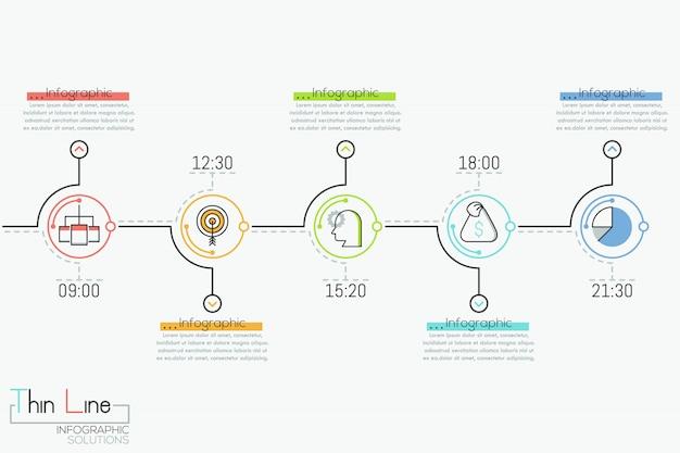 Cronologia orizzontale con 5 elementi rotondi, indicazione del tempo, pittogrammi e caselle di testo, Vettore Premium