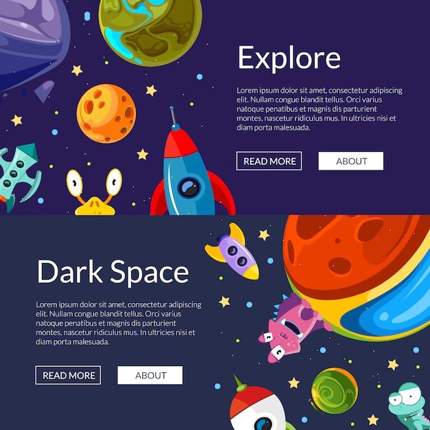 Illustrazione di modello di banner web orizzontale con cartoni animati pianeti spaziali e navi Vettore Premium
