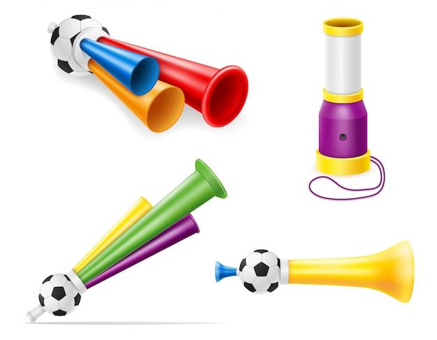 Illustrazione degli appassionati di calcio e degli sportivi di calcio di attributo del corno Vettore Premium