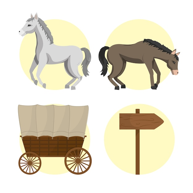 Cavallo e carrozze Vettore Premium