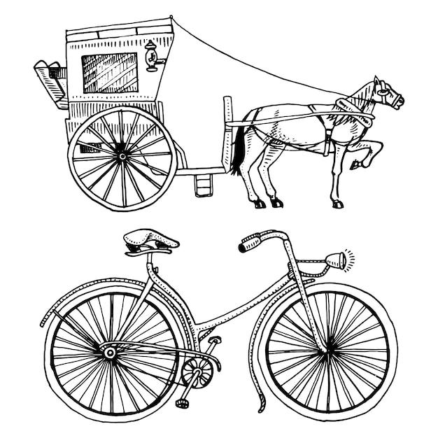 Carrozza trainata da cavalli o pullman e bicicletta, bici o velocipede. illustrazione di viaggio. incisi disegnati a mano in stile schizzo antico, trasporto vintage. Vettore Premium