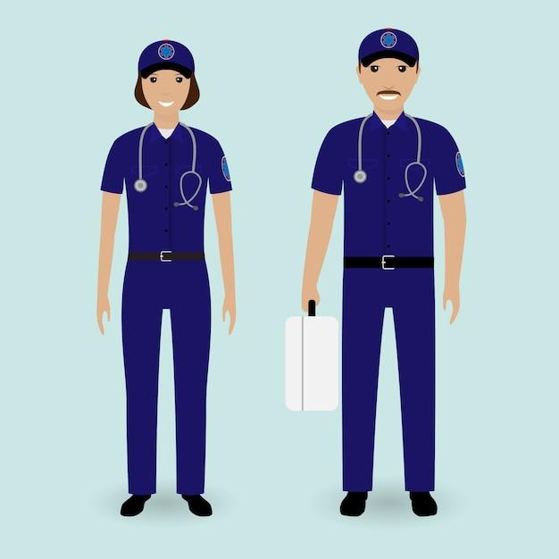 Concetto di personale ospedaliero. squadra dell'ambulanza dei paramedici. impiegato di servizio medico di emergenza maschio e femmina Vettore Premium