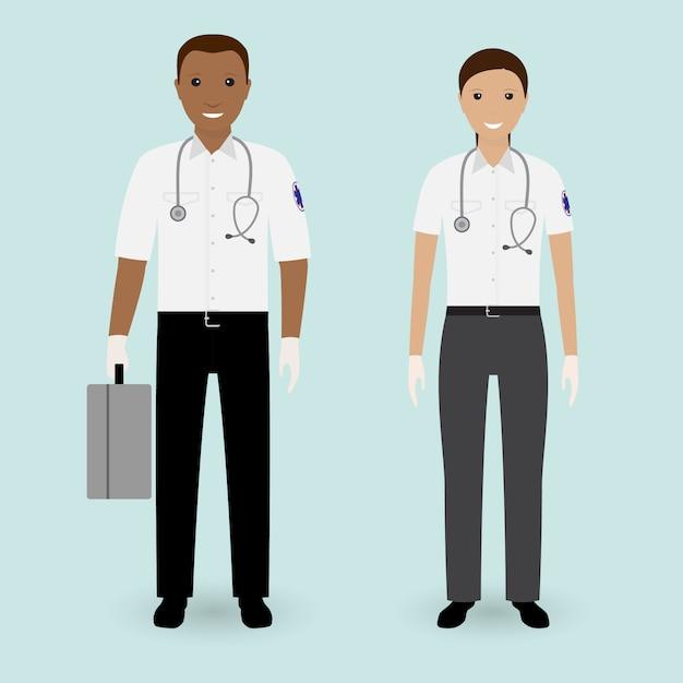 Concetto di personale ospedaliero. squadra dell'ambulanza dei paramedici. Vettore Premium