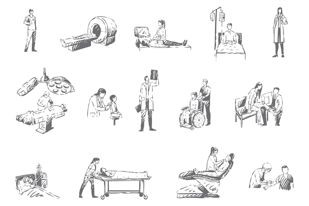 Personale ospedaliero e pazienti, illustrazione di schizzo di concetto di medicina Vettore Premium