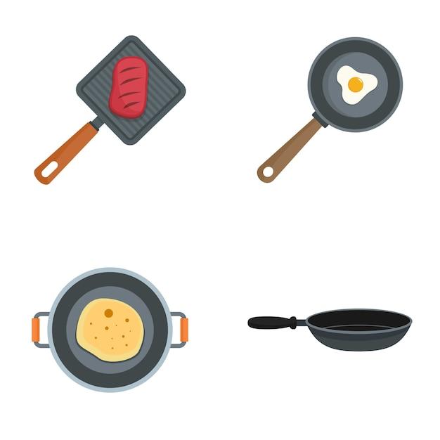 Insieme caldo dell'icona del cuoco unico della piastra Vettore Premium