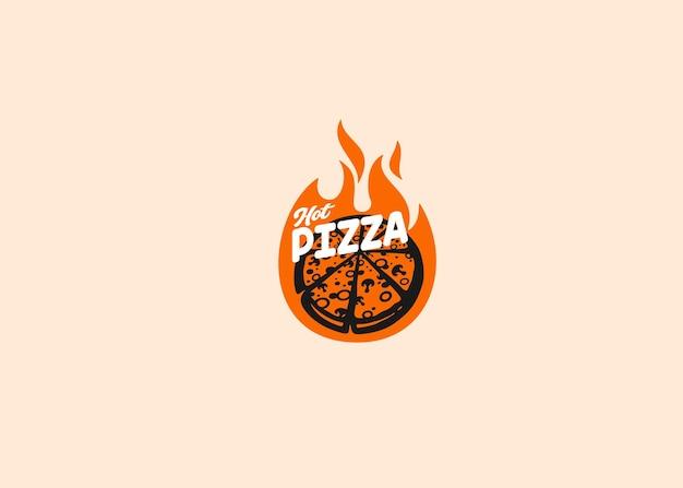 Hot pizza logo food tipografia design Vettore Premium