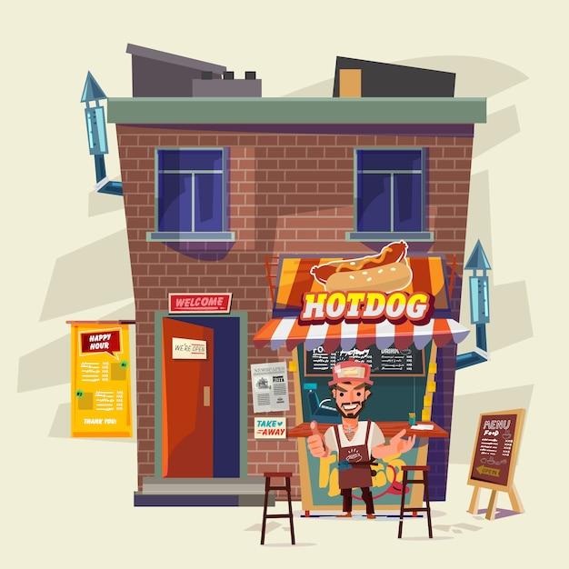 Casa di hot dog Vettore Premium