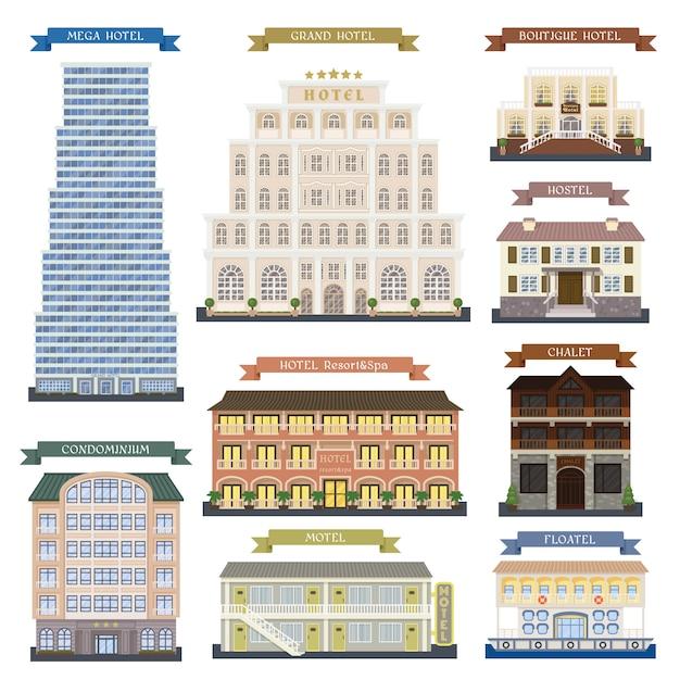 Edifici alberghieri Vettore Premium