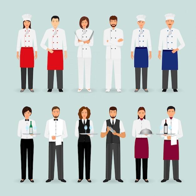 Hotel ristorante squadra maschile e femminile in uniforme gruppo di personaggi del servizio di ristorazione in piedi accogliendo Vettore Premium