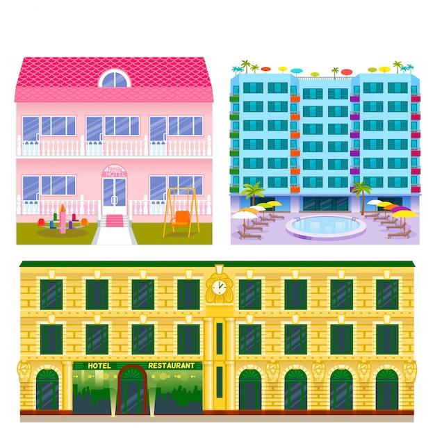 Illustrazione urbana della facciata della città dell'appartamento di tempo di vacanze dei posti dei viaggiatori turistici delle costruzioni degli hotel. Vettore Premium