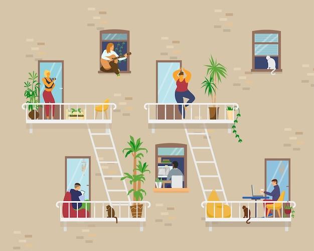 Esterno della casa con persone in finestre e balconi che stanno a casa e svolgono diverse attività: studiare, suonare la chitarra, lavorare, fare yoga, cucinare, leggere. piatto Vettore Premium