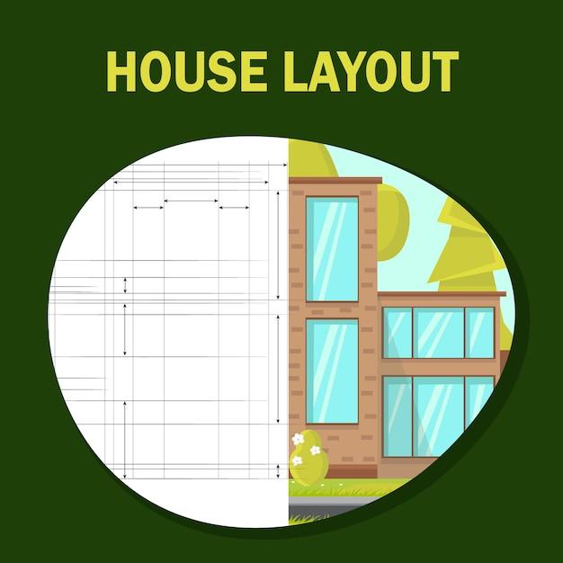 Modello di banner piatto vettoriale di layout di casa. Vettore Premium