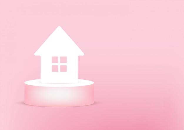 Carta 3d della casa sul rosa Vettore Premium