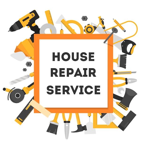 Bandiera di concetto di riparazione della casa. attrezzature per la riparazione Vettore Premium