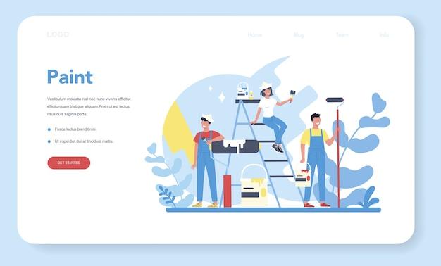 Banner web o pagina di destinazione di concetto di pittura murale di casa. Vettore Premium