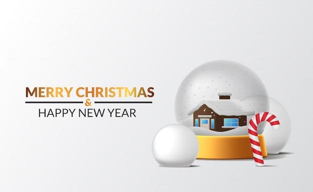 Decorazione della scena invernale della casa decorazione della sfera di vetro della neve con palla di neve e zucchero filato con sfondo bianco per un evento di buon natale e felice anno nuovo Vettore Premium