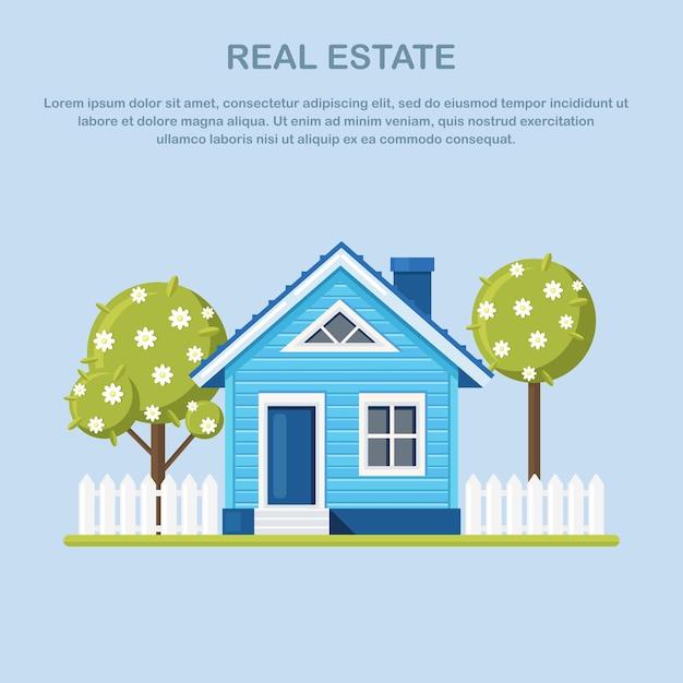 Casa con albero, recinzione in periferia. affitto di immobili, proprietà Vettore Premium