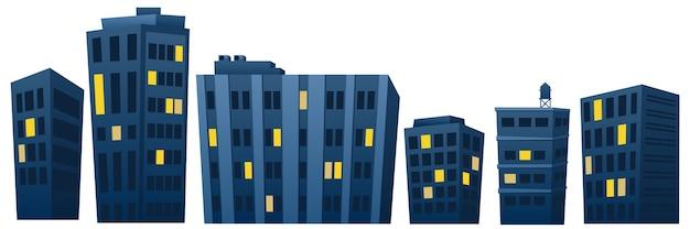 Case e appartamenti di notte Vettore Premium