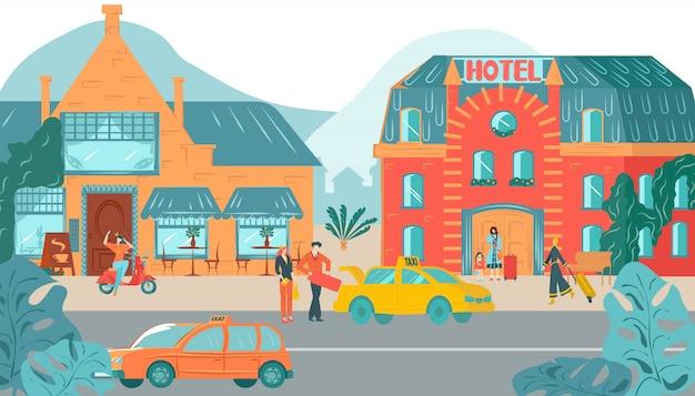 Alloggia il fronte esterno, illustrazione urbana di architettura domestica dell'hotel degli edifici delle facciate delle case urbane. Vettore Premium