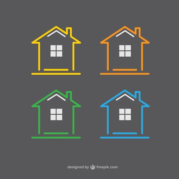 Icone case Vettore Premium