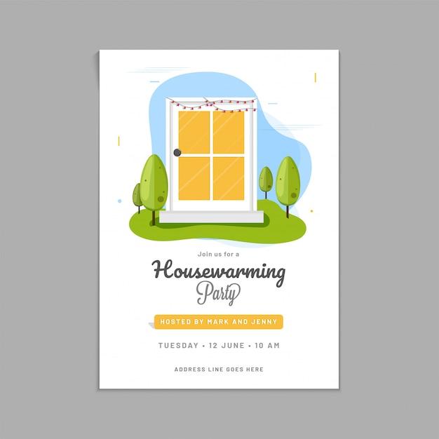Disegno di carta dell'invito del partito di inaugurazione della casa. Vettore Premium