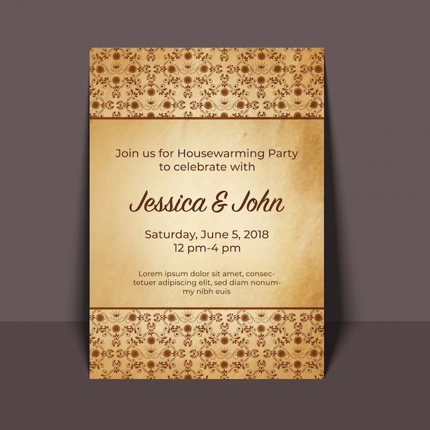 Disegno di carta dell'invito del partito di inaugurazione della casa Vettore Premium
