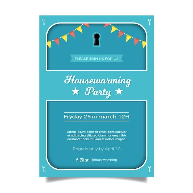 Disegno del modello di invito festa di inaugurazione della casa Vettore Premium