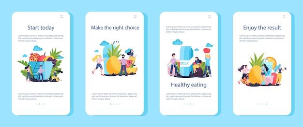 Come ottenere banner per applicazioni mobili in forma e sani. inizia oggi. cibo fresco e dieta come routine quotidiana. esercizio sportivo fitness. illustrazione Vettore Premium