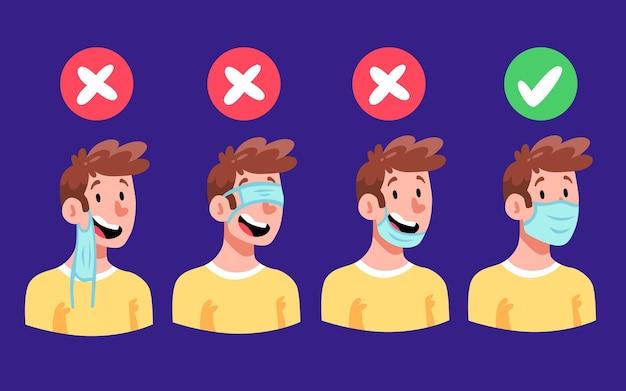 Come indossare una maschera per il viso (giusto e sbagliato) Vettore Premium