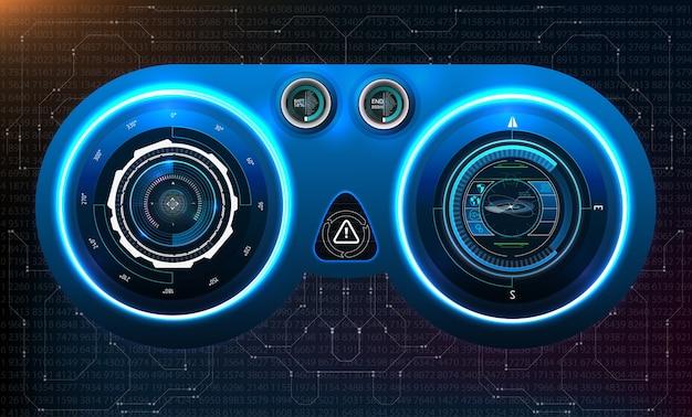 Dashboard hud. interfaccia utente di tocco grafico virtuale astratto. interfaccia utente futuristica hud ed elementi infografici. Vettore Premium