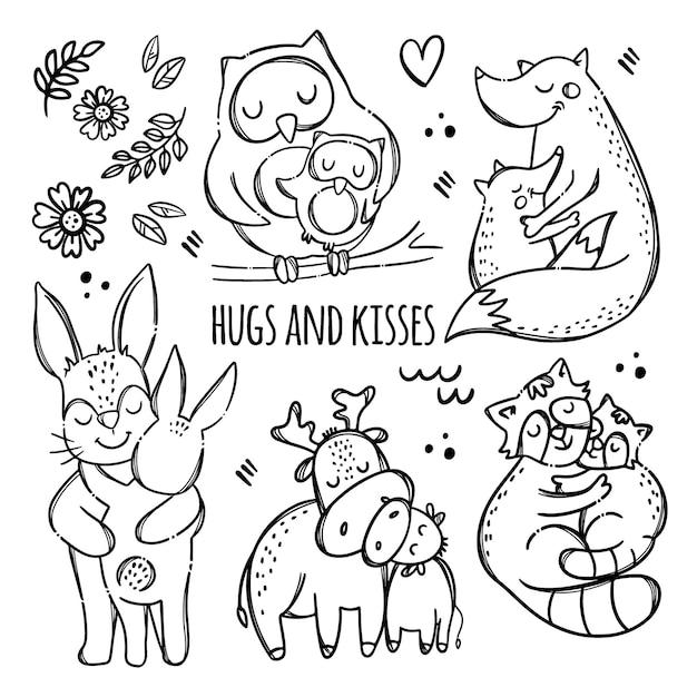 Baci e abbracci. simpatici animali che abbracciano i loro bambini. insieme dell'illustrazione di clipart disegnato a mano monocromatico rapporto parentale Vettore Premium