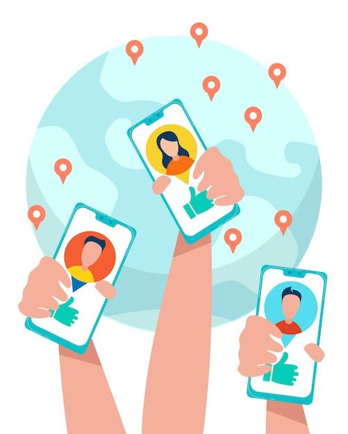Le mani umane tengono i telefoni con la rete sociale aperta Vettore Premium