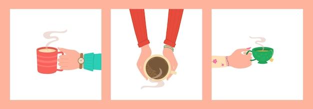 Mani umane con tazza da tè Vettore Premium