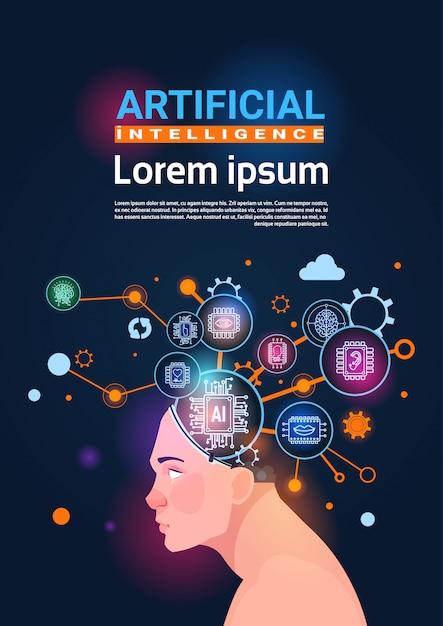 Testa umana con cyber brain cog wheel and gears concetto di banner verticale di intelligenza artificiale Vettore Premium
